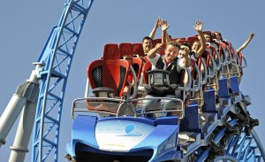 "Ab durch den Looping mit dem ""blue fire Megacoaster powered by GAZPROM"""